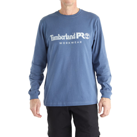 Timberland PRO Cotton Core Long Sleeve Chest Logo Tee - Indigo