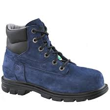 "Wolverine Women's Blue Leather Belle 6"" Steel Toe Safety Boot"