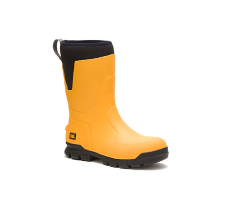 "Cat Stomers 11"" Waterproof Steel Toe Rubber Work Boots - Yellow"