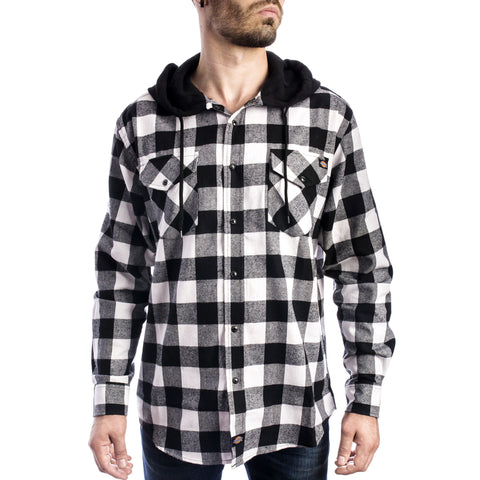 Men's Flannel Long Sleeve Woven Shirt With Hood
