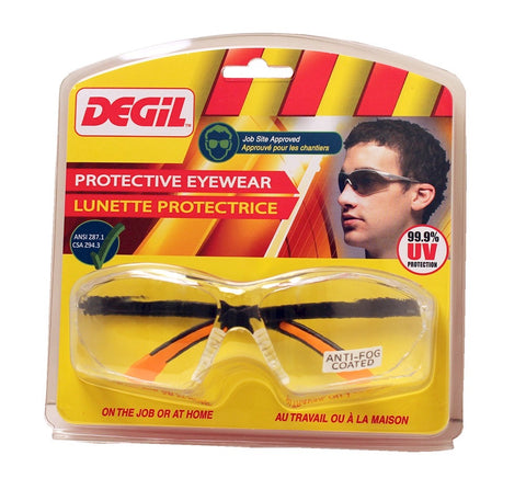 Degil JS505 Clear Anti Fog Lens Protective Work Glasses