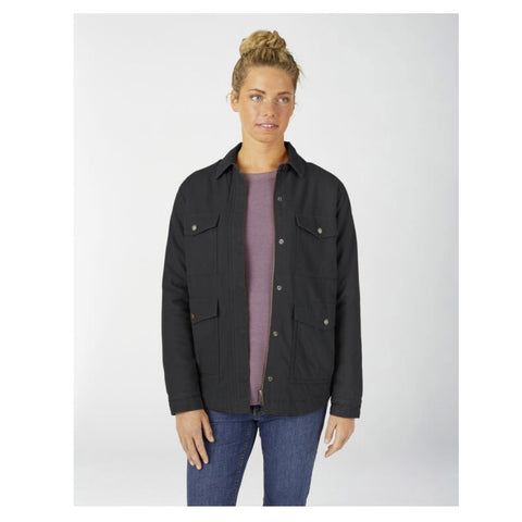 Dickies Women's Sherpa Lined Duck Chore Coat FJ176 - Black