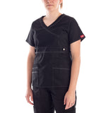 Dickies Gen Flex V-Neck Black Scrubs Top  - black