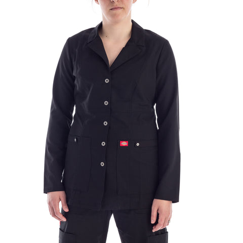 Dickies Snap Front Lab Coat in black