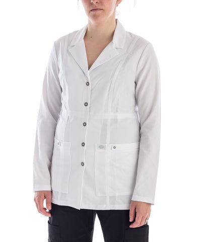 Dickies Snap Front Lab Coat in white