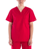 Dickies Unisex V Neck Scrubs Top - Red