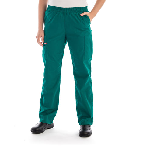 Dickies Pull On/Elastic Waist Women's Scrubs Pants - Petite in hunter green