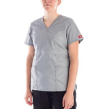 Dickies Women's Mock Wrap Scrubs Top- Missy Fit in sky blue