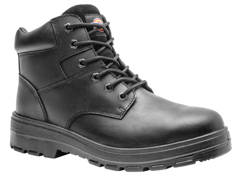 "Dickies Men's 6"" Black Leather Steel Toe Safety Boot"