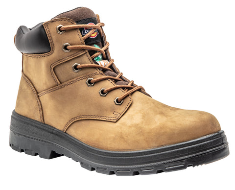"Dickies Men's 6"" Brown Leather Steel Toe Safety Boot"
