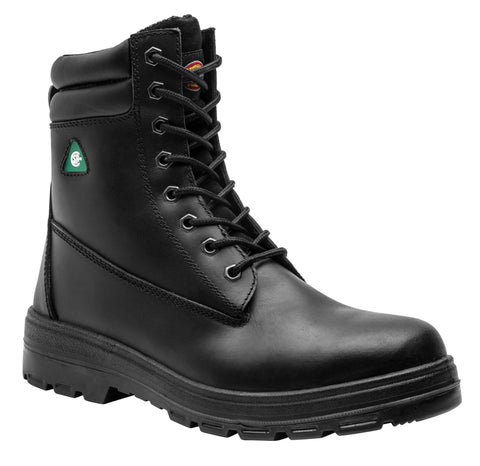 "Dickies Men's 8"" Black Leather Steel Toe Safety Boot"