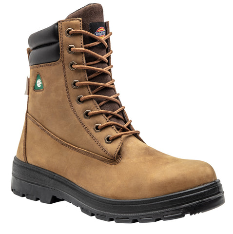 "Dickies Men's 8"" Brown Leather Steel Toe Safety Boot"