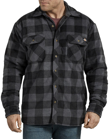 Dickies Relaxed Fit Icon Microfleece Quilted Shirt Jacket - Black/Grey