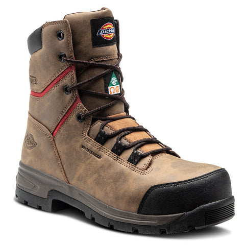 "Dickies Tractus Men's 8"" Waterproof Steel Toe Work Boot - Brown"