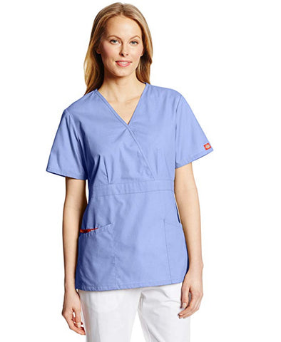 Dickies Women's Missy Fit Mock Wrap Scrubs Top - Ciel Blue