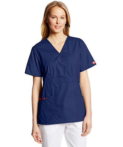 Dickies Women's Missy Fit Mock Wrap Scrubs Top - Navy