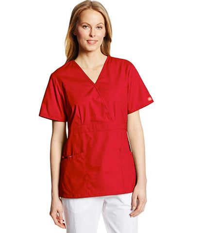 Dickies Women's Missy Fit Mock Wrap Scrubs Top - Red