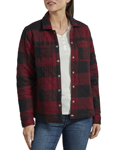 Dickies Women's Quilted Shirt Jacket - Black/Red
