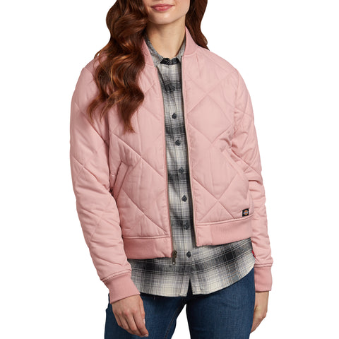 Dickies Women's Quilted Bomber Work Jacket - pink