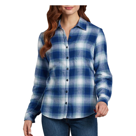 Women's blue Long Sleeve Plaid Flannel