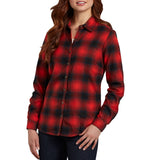 Women's Red Long Sleeve Plaid Flannel