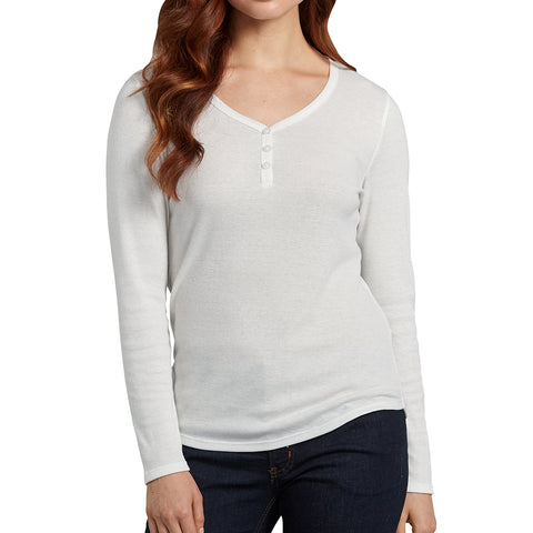 Women's white Long Sleeve Button Henley Shirt