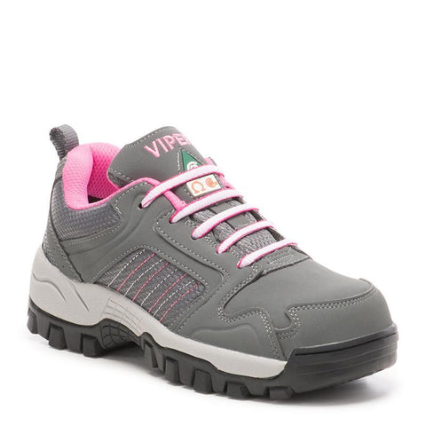 Viper Jenny Ladies Composite Toe Athletic Work Shoes - grey/pink