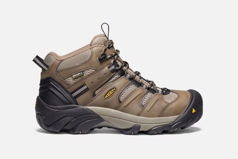 Keen Lansing Mid WP Men's Steel Toe Work Shoe - Brown