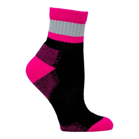Kodiak Women's 2 PK Work Sock Mid Length - Black/Grey/Pink 3305Q/2L