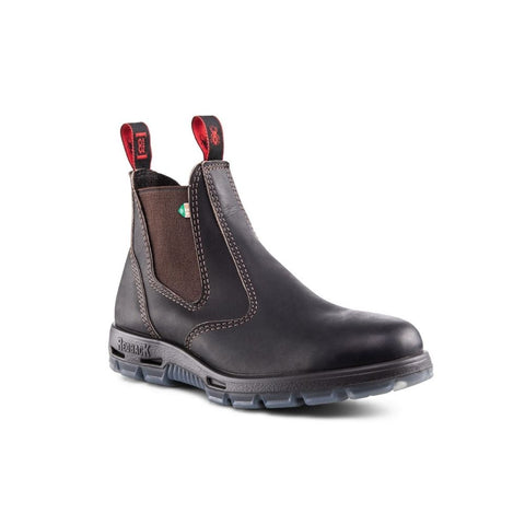 Redback Bobcat Unisex Slip On Steel Toe Work Boot - Claret Oil Kip