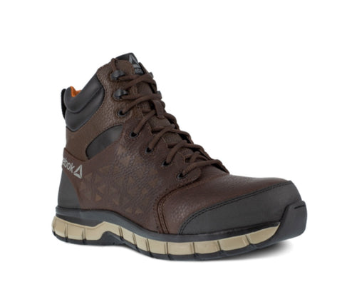 "Reebok Sublite 6"" Cushion Men's Waterproof Composite Toe Work Boots - Brown"