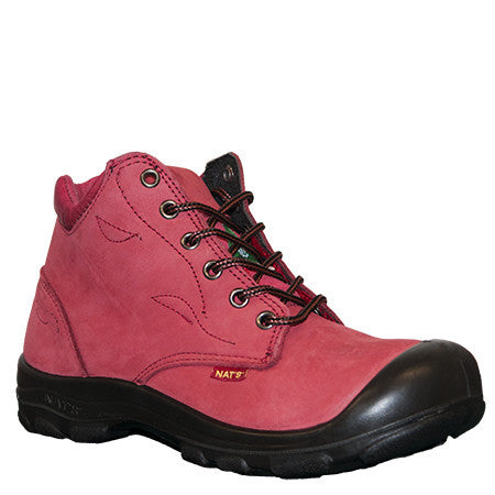 "NATS S556 Red 6"" Women's Steel Toe Work Boot With Side Zip"