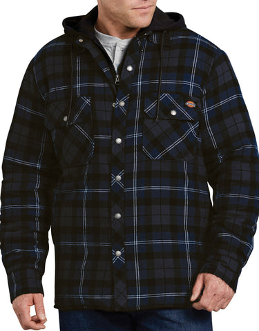 Dickies Relaxed Fit Icon Hooded Quilted Shirt Jacket - Navy