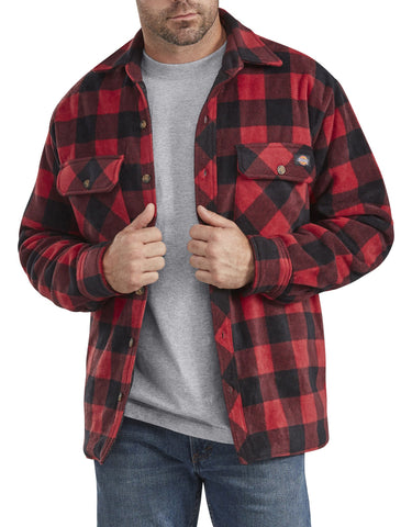 Dickies Relaxed Fit Icon Microfleece Quilted Shirt Jacket - red