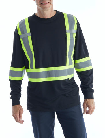 Terra Hi-Vis Long Sleeve Work Shirt - Black