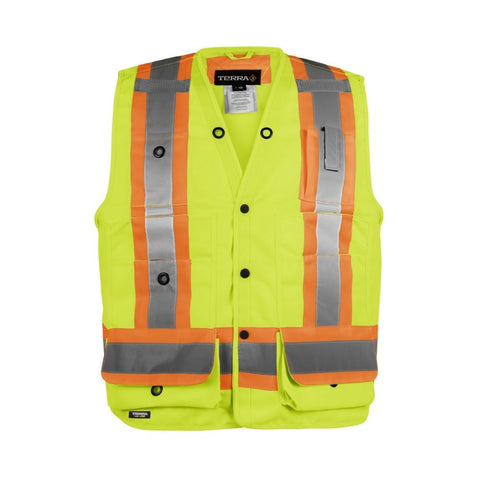 Terra Hi-Vis Surveyor`s Vest - Yellow 116522YL