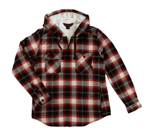 Tough Duck Women's Plush Pile-Lined Flannel Work Hoodie WS12 - Red