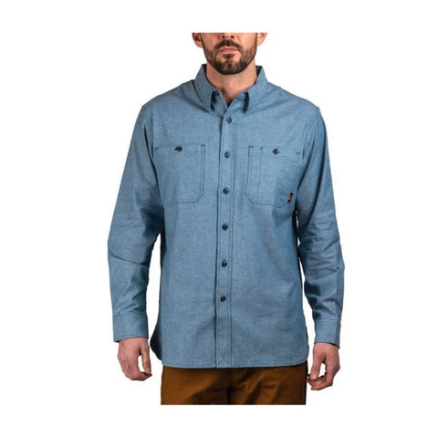 Walls Leroy Mid-weight Brushed Flannel Work Shirt YL995  - Blue