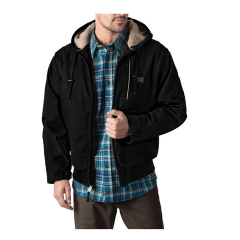 Walls Mingus Men's Sherpa Lined Hooded Winter Work Bomber - Black YJ839