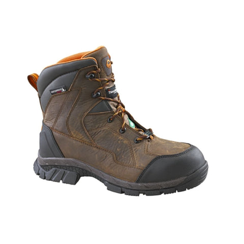 "Wolverine Glacier 8"" Unisex Leather Composite Toe Work Boot With Vibram Arctic Grip - Brown"