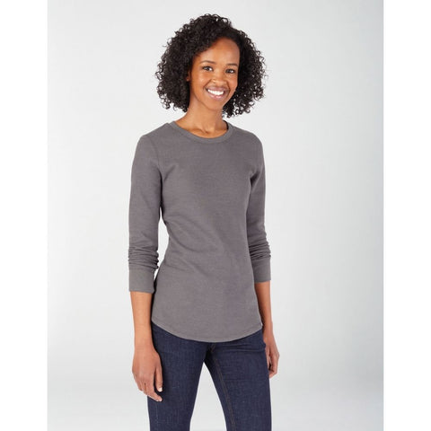 Women's Long Sleeve Crew Neck Thermal Shirt Grey