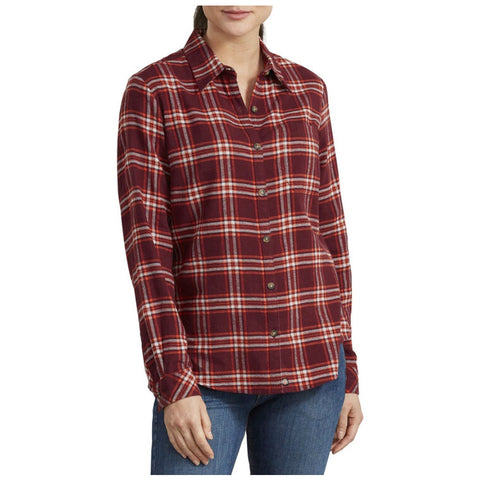 Women's Long Sleeve Plaid Flannel Work Shirt FL075 - Red