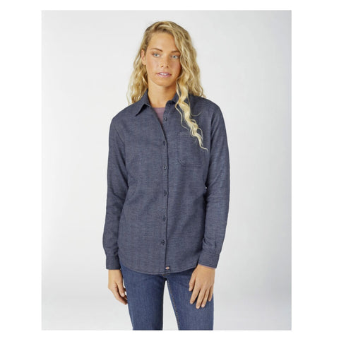 Women's Long Sleeve Plaid Flannel Work Shirt FL075 - Blue Herringbone