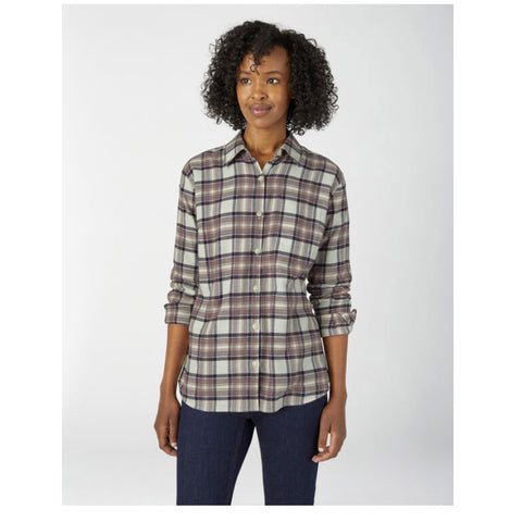 Women's Long Sleeve Plaid Flannel Work Shirt FL075 - Dusty Violet