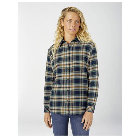Women's Long Sleeve Plaid Flannel Work Shirt FL075 - Ink Navy