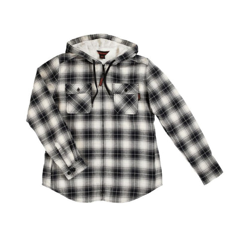 Tough Duck Women's Plush Pile-Lined Flannel Work Hoodie WS12 - Grey
