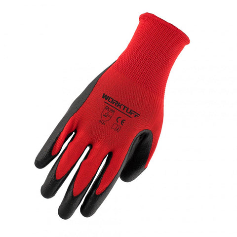 3-Pack Worktuff Polyester Nitrile Coated Gloves 51185 - Red