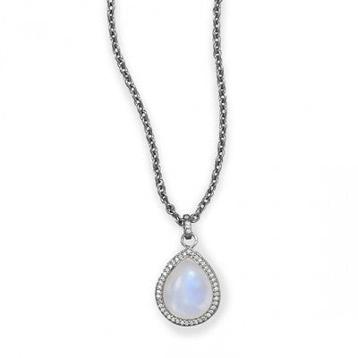 Pave Diamond Moonstone Pear Necklace