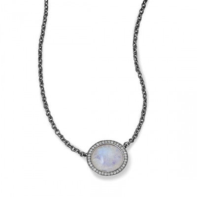 Pave Diamond Moonstone Round Necklace