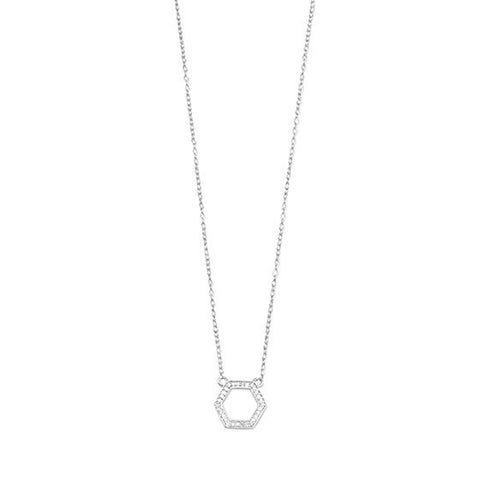 Sterling Silver Diamond Hexagon Necklace